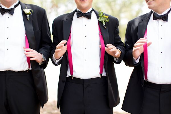hot pink suspenders! | Love, The Nelsons #wedding
