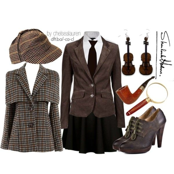 "Some old Sherlock love. Don't we all want a ""death frisbee""?  How cute are violin earrings?  And those shoes...  :)"