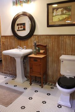 Bath edwardian Design Ideas, Pictures, Remodel and Decor -- I like the floor tiles in this bathroom