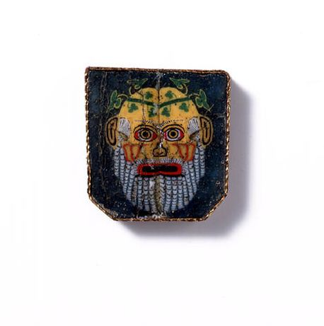 Mosaic glass, 1st century B.C.E./C.E.  Romano-Egyptian Mosaic Glass Inlay Depicting Selinos or a New Comedy Actor