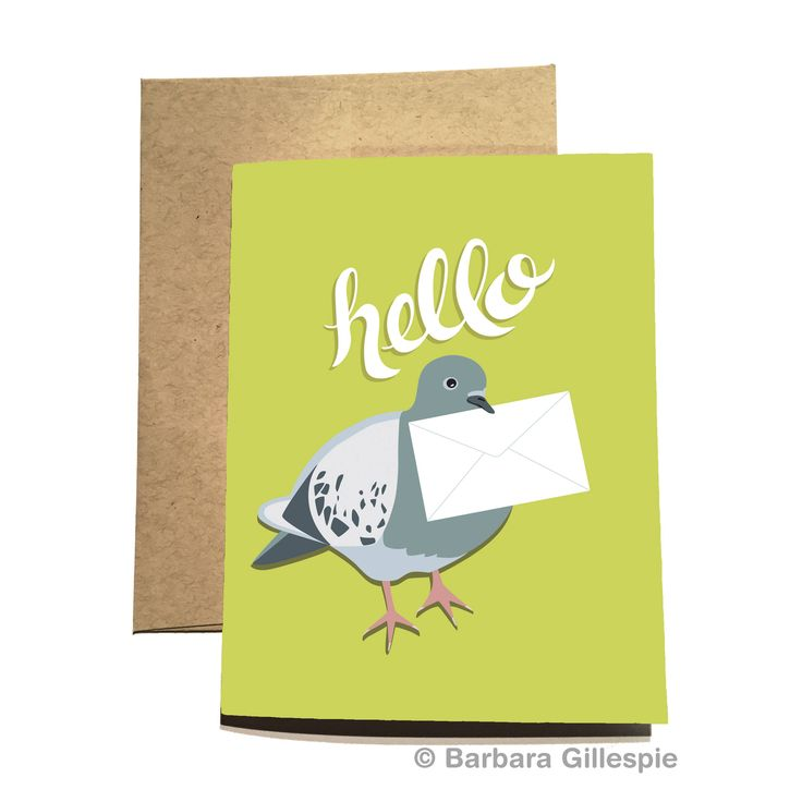 Say hello with this perky little Pigeon Keep In Touch Card. Available at flopsockdesigns on Etsy / Blank inside / Comes with a matching kraft paper envelope / Pin for later