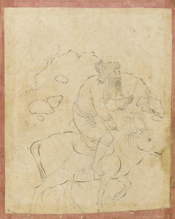 Old man riding on zebu first half of 17th century Safavid period  Ink on paper H: 12.2 W: 9.9 cm  Isfahan, Iran  Purchase F1953.13  Freer-Sackler | The Smithsonian's Museums of Asian Art
