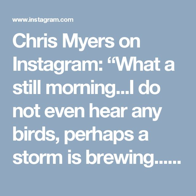 "Chris Myers on Instagram: ""What a still morning...I do not even hear any birds, perhaps a storm is brewing...I feel tonight will be a make a fire and eat popcorn kind…"" • Instagram"