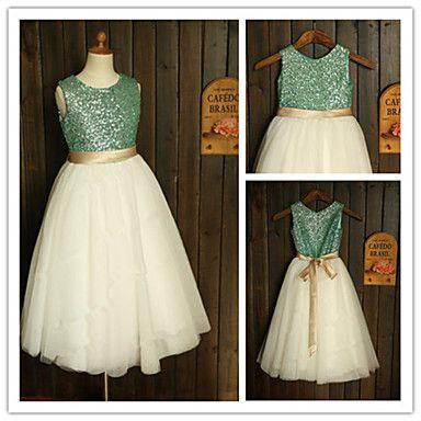 Vestido de niña de las flores Corte A - Escote Joya - Hasta el Tobillo ( Tul/Con lentejuelas ) – EUR € 49.99