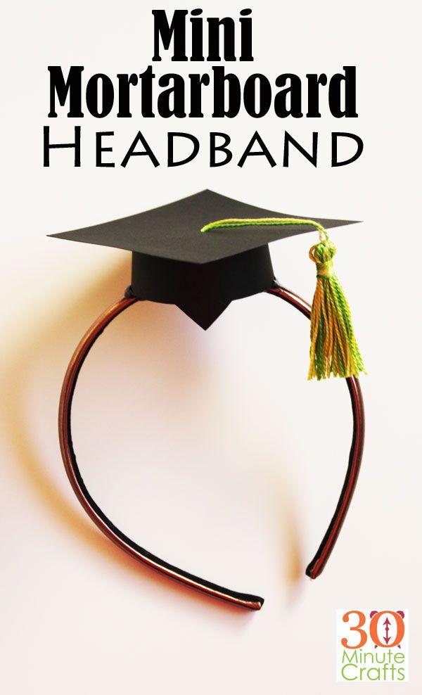 How Cute Is This Mini Mortarboard Headband Graduation Cap Headband Graduation Diy Diy Graduation Cap Kids Graduation