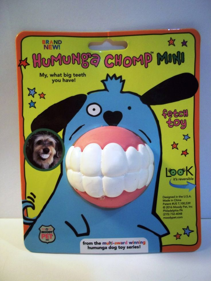 HUMUNGA+CHOMP+MINI+Funny+Teeth+Rubber+Pet+Dog+Toy+Fetch+Ball+for+SMALL+DOGS
