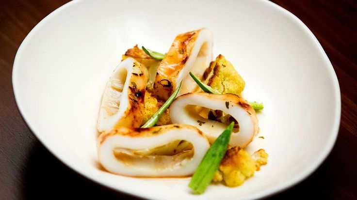 Torched Maple Syrup Calamari, Roasted Cauliflower and Pickled Okra