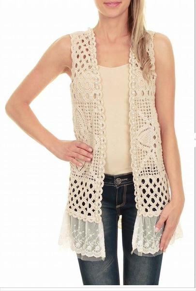 Molly Bracken Chaleco crochet con encaje - Melani Boutique
