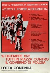 """""""Tutti in piazza contro il governo di polizia"""", manifestazione di Lotta Continua del 12 dicembre 1972"""