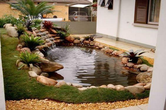 Idéia de lago onde se pode aproveitar o desnível do terreno.