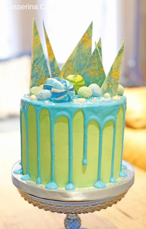 Blue And Green Colour Pour Drip Candy Cake Cake By Kasserina