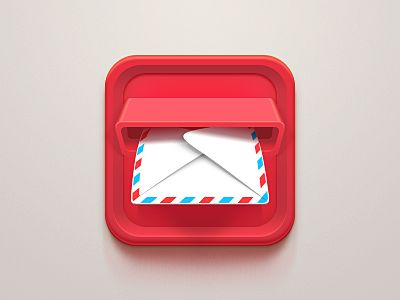 This app is almost interactive. The mail appears to be coming towards you, inviting you to grab it. With this interactive feature, you may be more likely to touch the app, leading you to the business. The simple red and blue checkered envelope creates a elegant pattern and consistency.