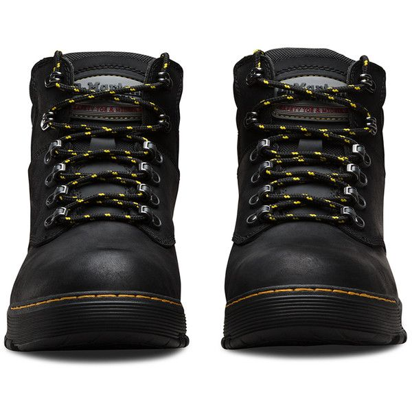 Dr. Martens Leather Ridge Safety Toe Boots ($150) ❤ liked on Polyvore featuring shoes, boots, black, leather boots, dr martens boots, lightweight boots, steel toe shoes and black boots