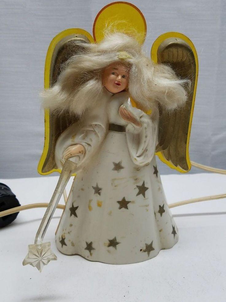 Vintage Plastic Christmas Tree Topper Angel Light Noma Wand Lighted Decoration #Noma