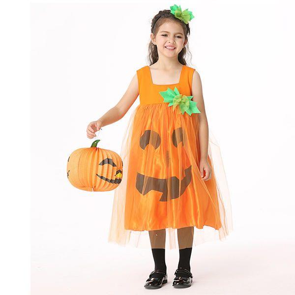 Halloween Kid Girls Pumpkin Fancy Dress Costume with Headwear at Banggood
