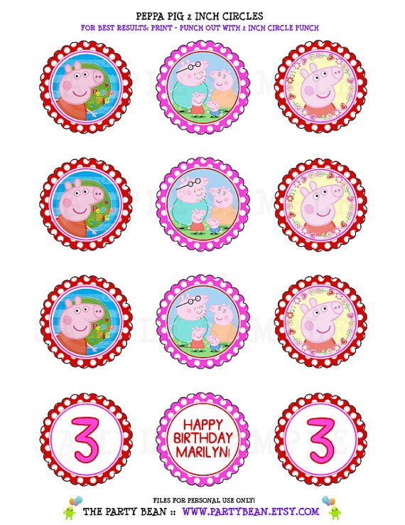 Peppa Pig Birthday Cupcake Toppers Stickers Tags by partybean, $5.50