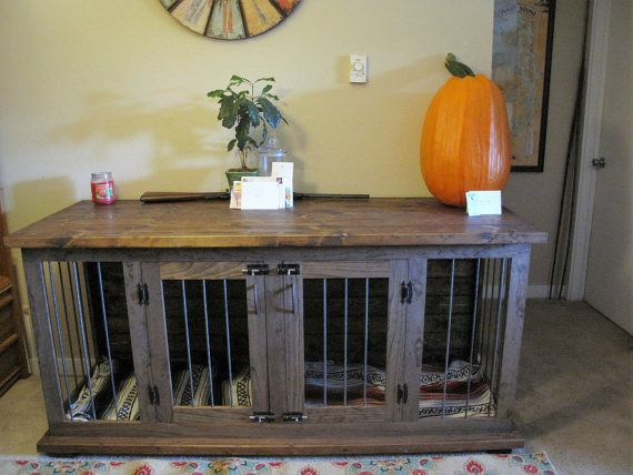 Beautifully crafted home for your pet! This double kennel/table serves as a dual functioning piece of furniture. This eliminates the need of moving a large crate around to save space! This unit is wrapped in steel round bar, which not only will last, but gives it a clean look. Finished with a beautiful stain color of your choosing & tough finish, this kennel will last for years to come and be the perfect conversation starter! Kennel pictured measures 72L x 25W x 35H  Can be custom made to…