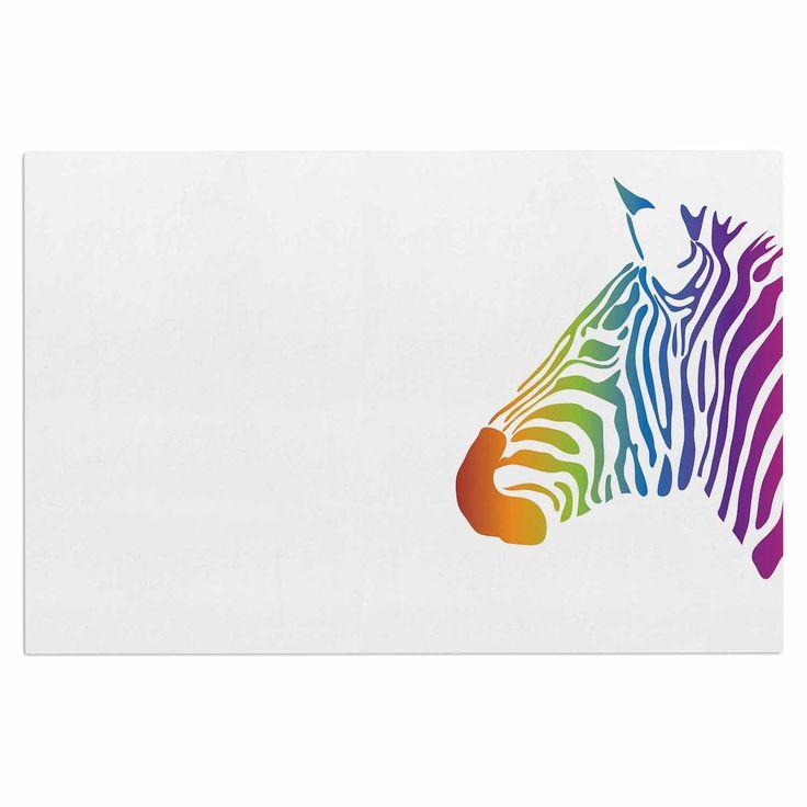 "NL designs ""Rainbow Zebra "" Multicolor Animals Decorative Door Mat"