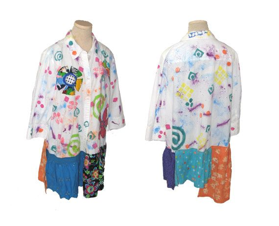 Women's  XL 1X Handpainted Appliqued Upcycled oversized by upCdooZ
