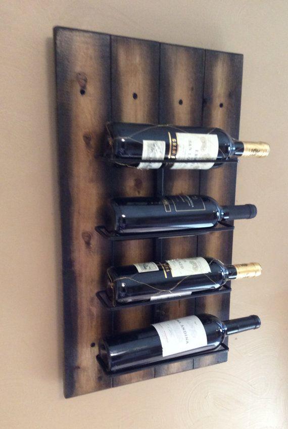 Wall Hanging Wine Rack in Reclaimed solid by AspenBottleHolders