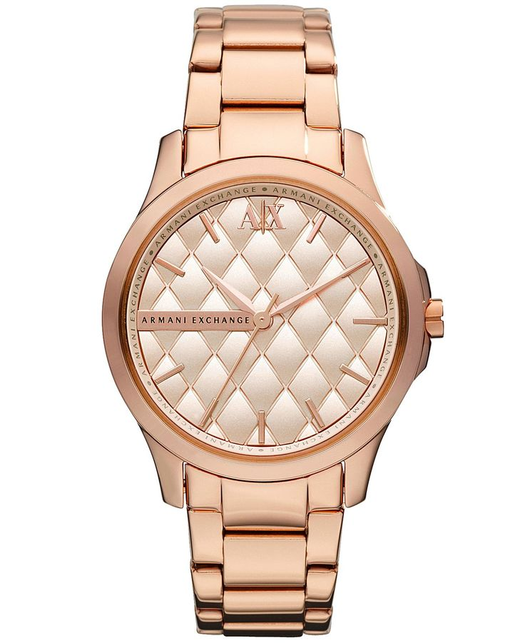 A|X Armani Exchange Watch, Women's Rose Gold Tone Stainless Steel Bracelet 36mm