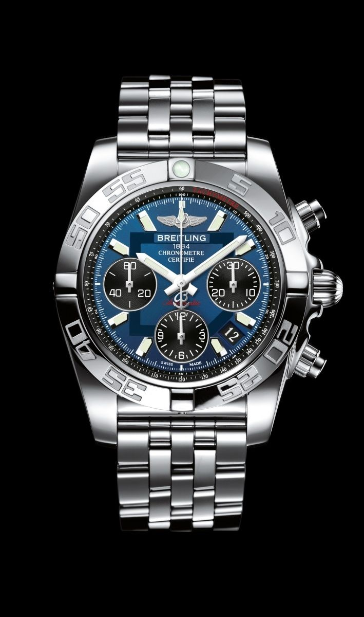Chronomat 41 watch by Breitling - Steel case, blackeye blue dial, Pilot bracelet in steel.
