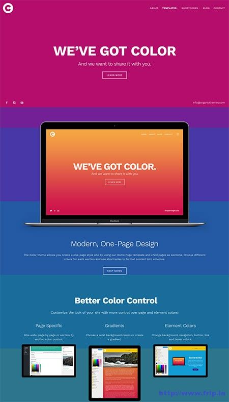 Color WordPress Theme By Organic Themes  http://www.frip.in/color-wordpress-theme/