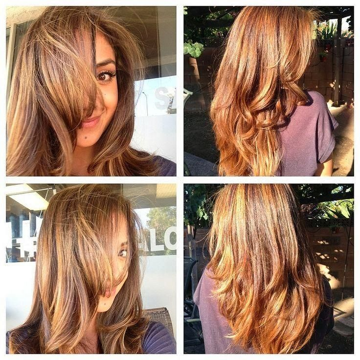 caramel base with honey blonde highlights hair color ideas for spring.Warm :Is it blond ? Brunette ? Red ? It's somewhere in between . Honey , caramel shades are massive this time of year .This shiny auburn hue is  pretty .