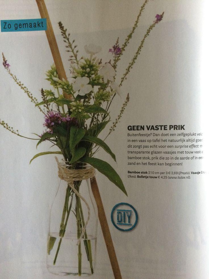 Vaas met touw, vaas in de grond prikken, decorate, VT wonen magazine september 2014