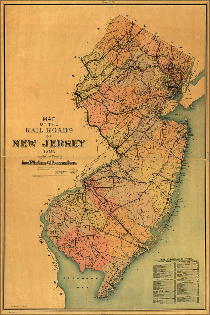 1887 New Jersey Railroad map 19 best