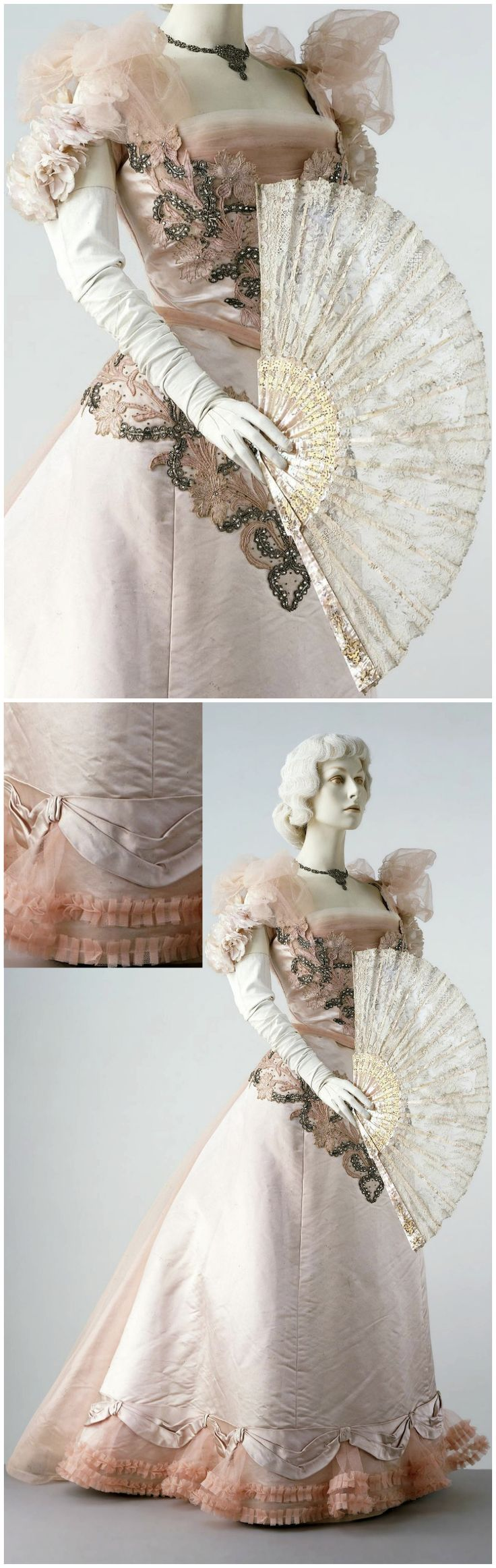 Evening dress of satin and tulle, possibly designed by Charles Frederick Worth…