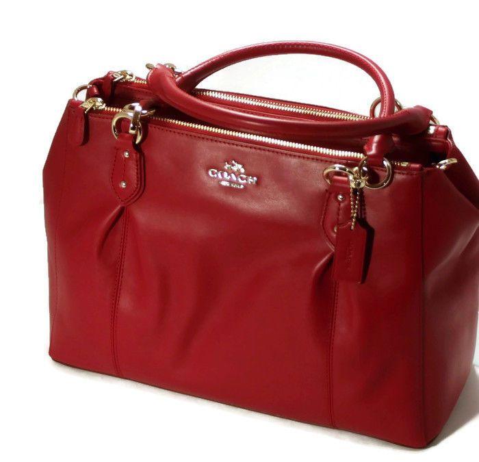 4efd3251d8 New COACH F36366 Colette Leather Carryall Satchel Handbag Shoulder Tote Red  ...