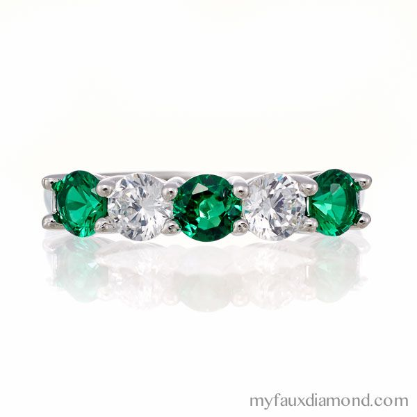 Holiday Savings Now 20% off All Rings+Free Shipping! (No code required.) 5 Stone Emerald Green CZ Wedding Band.