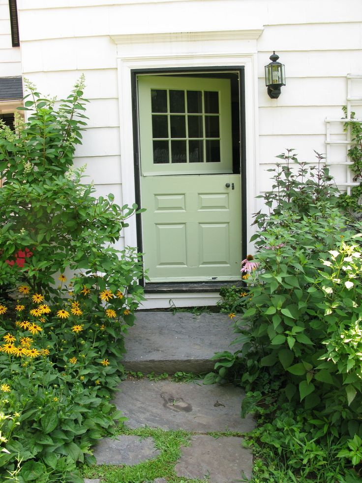 spring green door in white home, Sherwin Williams Organic Green, celery green, apple green
