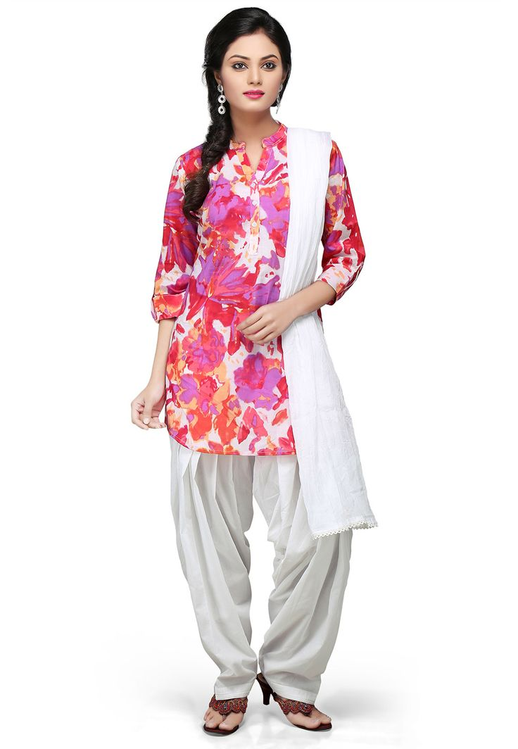 MULTICOLOR COTTON READYMADE KAMEEZ WITH PATIALA