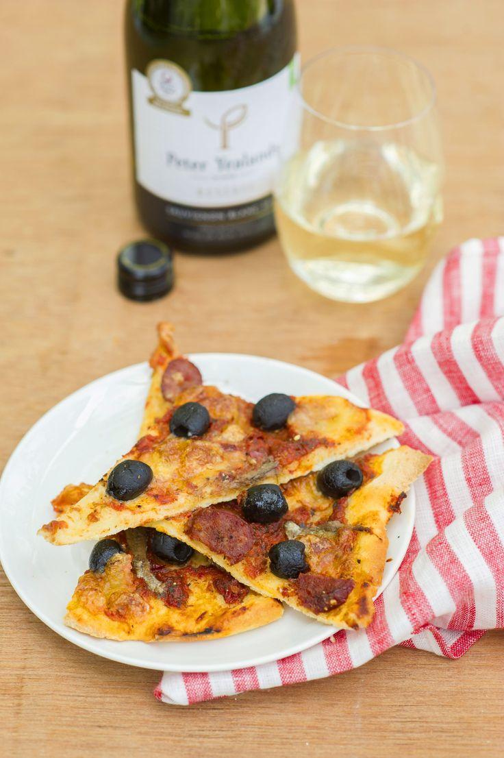 Olive, Anchovies and Chorizo Pizza
