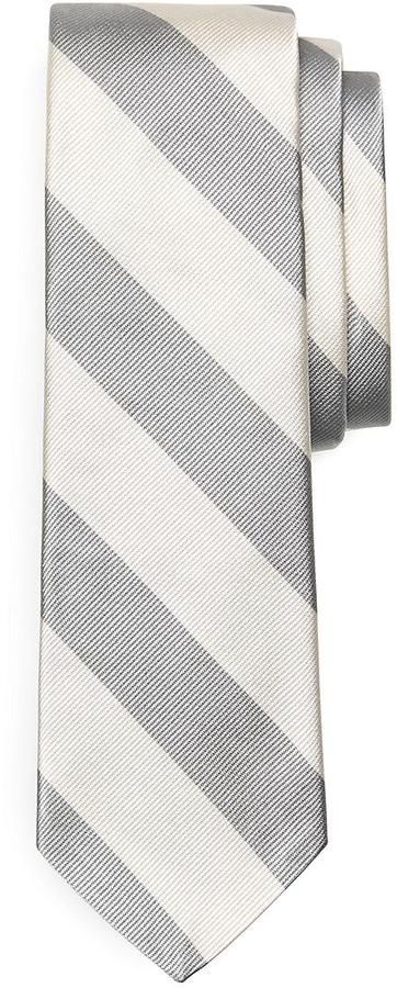 $125, Grey Horizontal Striped Tie: Brooks Brothers Bold Stripe Tie. Sold by Brooks Brothers. Click for more info: https://lookastic.com/men/shop_items/69853/redirect