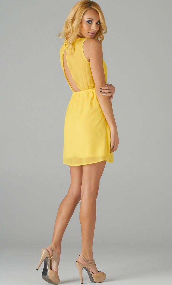 Lemon Yellow Open Back Dress | Dream Yellow And Black | Pinterest | Short Dresses Back Dresses ...