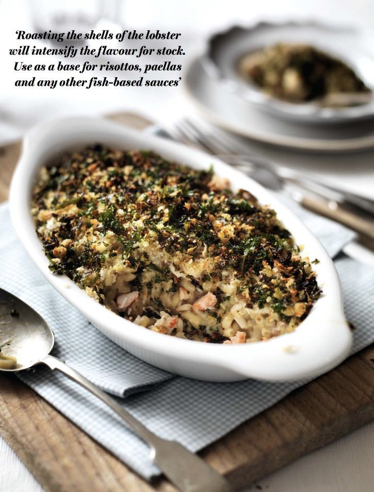 Lobster Mac'n'Cheese with Crispy Kale Topping - using the lobster shells really enriches the stock, whilst the lobster itself is steamed to perfection