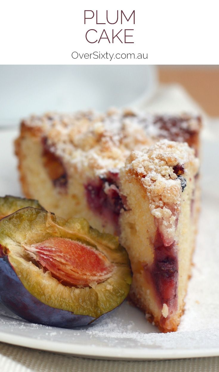 Plum Cake Recipe - this delicious plum cake is complete with a crumbly golden crust and beautifully tender juicy plums. It's the perfect morning or afternoon treat.