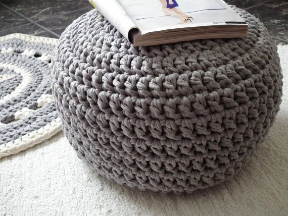 Light Grey Pouf-Grey Ottoman-Pouf Ottoman-Floor Cushion-Footstool-Floor Pillow-Crochet Round ...