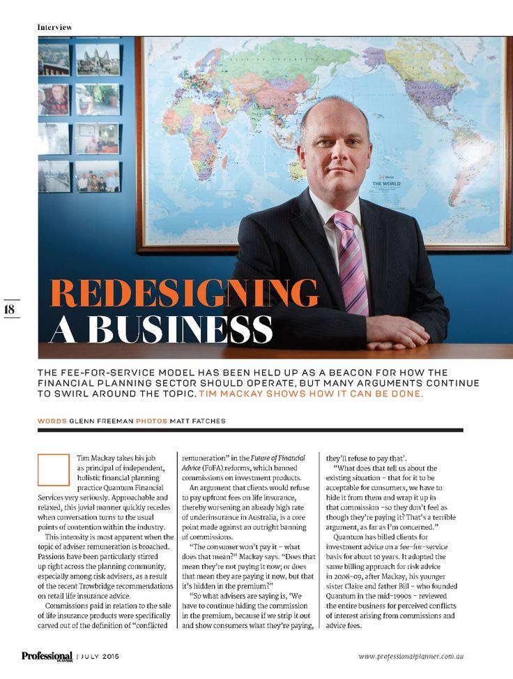 Profile of Quantum Financial Principal Tim Mackay in Professional Planner magazine.