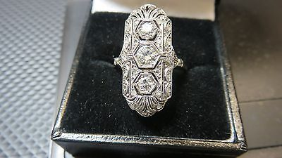 Antique Art Deco Platinum+Diamond Long Filigree Cocktail Ring~Rare Vintage Item | Jewelry & Watches, Vintage & Antique Jewelry, Fine | eBay!
