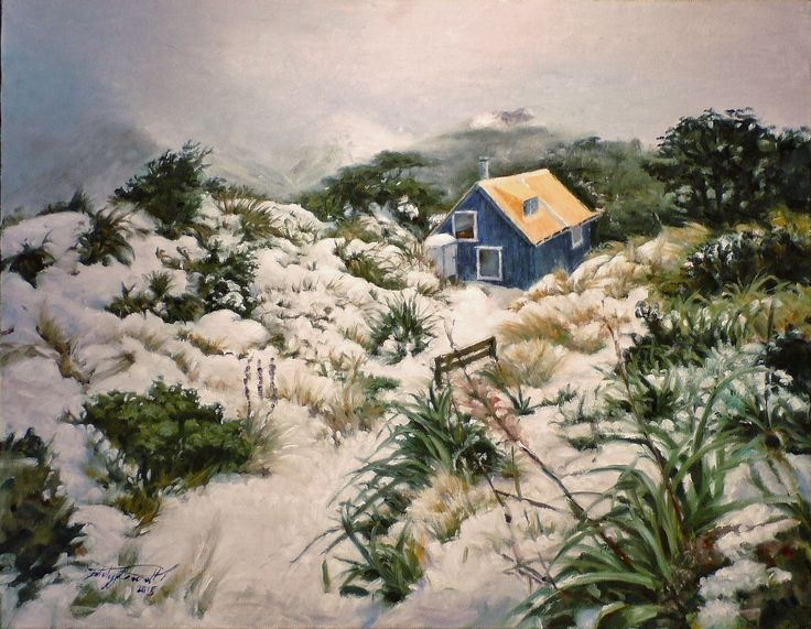 Howlett's Hut, Ruahine Ranges, NZ, Oil on canvas by Felicity Deverell. The Art of a Hut Collection