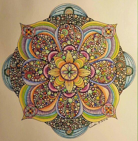 A Valentina Harper design colored with woodless pencils by Vicki Patterson.