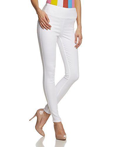 PIECES Damen Skinny Hose Just Jute Highwaist Legging, Gr. 36 (Herstellergröße: S/M), Weiß (Bright White)