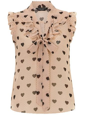 Blush heart ruffle front top - Tops & T-Shirts  - Clothing
