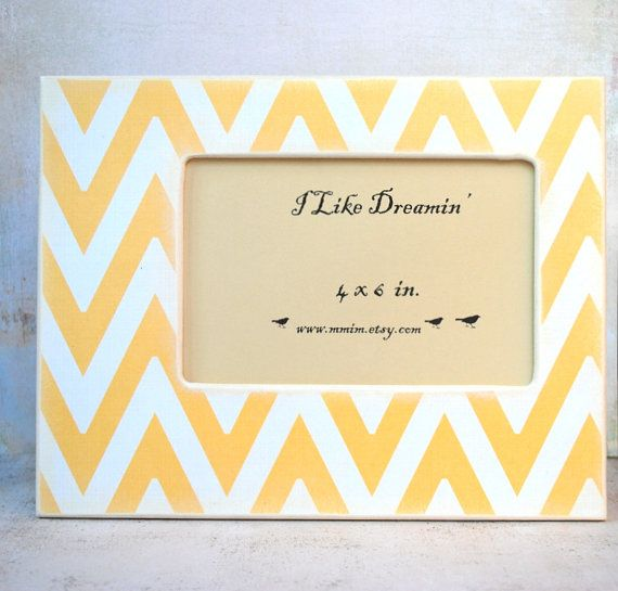 4 x 6 Picture Frame  Mustard yellow Chevron Picture Frame by Mmim, $22.00