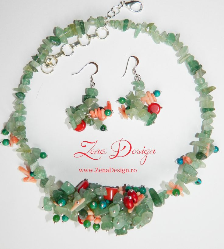 Green and red necklace - Aventurine and coral necklace by ZenaDesign on Etsy