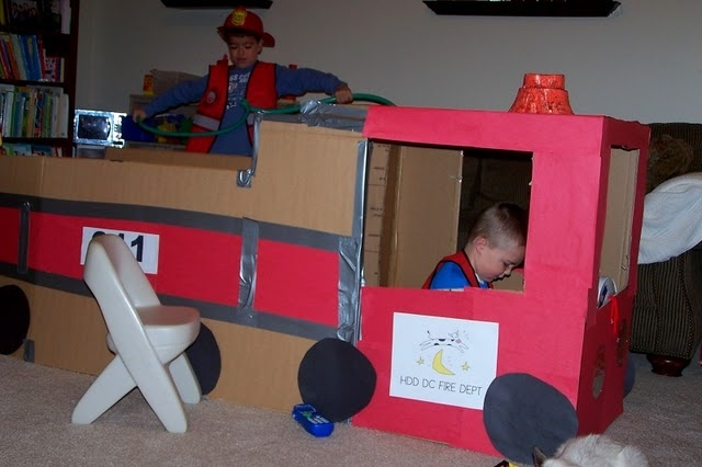 yet another fire truck cardboard box - all of these are much better efforts than my little one but I'll raise my game very soon....